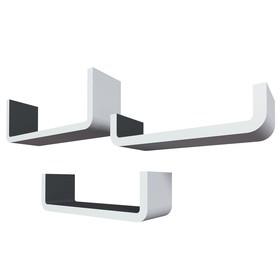 Комплект полок «Италия», 40 × 14 × 10 см, 35 × 10 × 10 см, 30 × 7 × 10 см, цвет белый/серый