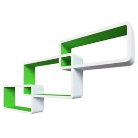 Комплект полок «Нью-Йорк», 44 × 24 × 10 см, 40 × 20 × 10 см, 36 × 16 × 10 см, цвет белый/зелёный
