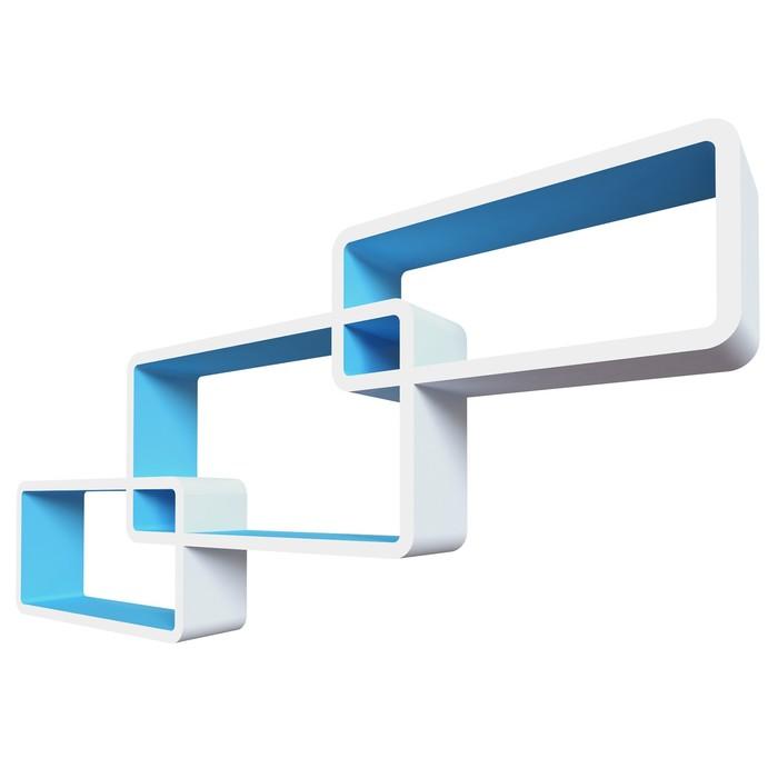 Комплект полок «Нью-Йорк», 44 × 24 × 10 см, 40 × 20 × 10 см, 36 × 16 × 10 см, цвет белый/голубой