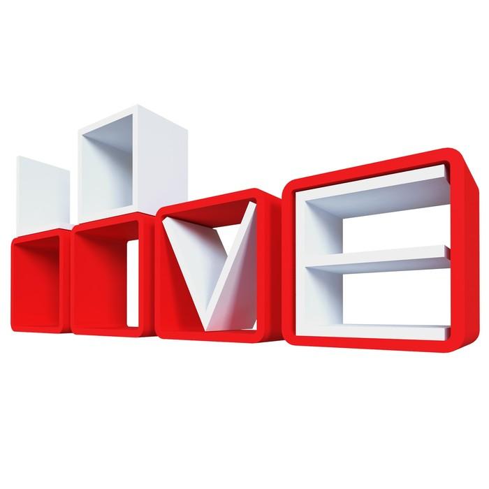 Комплект полок «Love», 25 × 25 × 8,5 см, цвет красный/белый