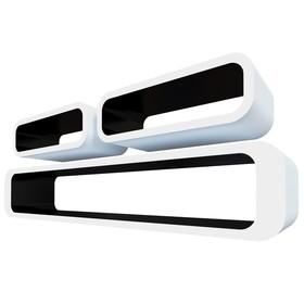 Комплект полок «Пекин», 95 × 17,5 × 16 см, 40 × 13 × 16 см, 40 × 13 × 16 см, цвет белый и чёрный