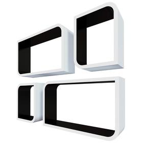 Комплект полок «Мадрид», 50 × 30 × 12 см, 30 × 24 × 12 см, цвет белый/чёрный
