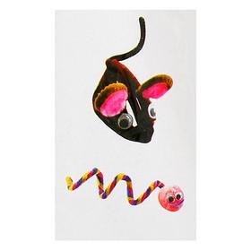 Набор для создания игрушки из меховых палочек и помпошек «Мышка и змея»