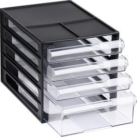 Файл-кабинет 4-секционный «СТАММ», чёрный корпус, прозрачные лотки Ош