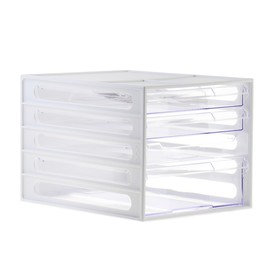 Файл-кабинет 4-секционный СТАММ, белый корпус, прозрачные лотки Ош