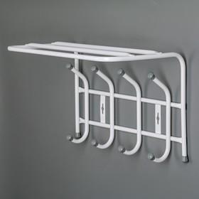 Вешалка настенная с полкой на 4 крючка, 40×23,8×26,8 см, цвет белый