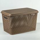 Ящик для хранения с крышкой «Ротанг», 23 л, цвет бежевый