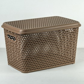 Ящик для хранения с крышкой «Ротанг», 23 л, 45×30×26,5 см, цвет бежевый