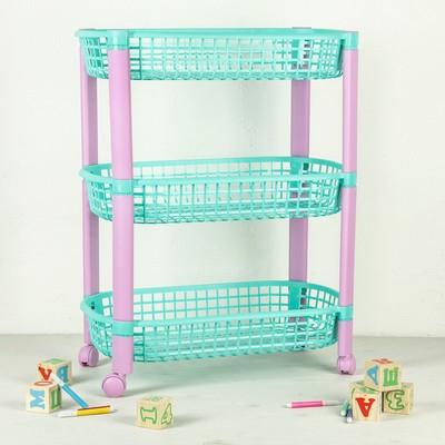 Этажерка для игрушек на колёсах 3 секции IDEA «Конфетти», цвет бирюзовый - Фото 1