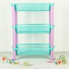 Этажерка для игрушек на колёсах 3 секции IDEA «Конфетти», цвет бирюзовый - Фото 2