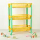 Этажерка для игрушек на колёсах 3-х секционная IDEA «Конфетти», цвет жёлтый