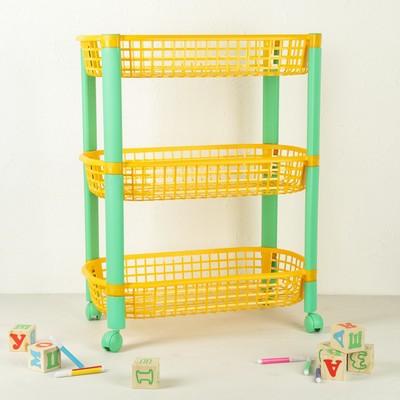 Этажерка для игрушек на колёсах 3-х секционная «Конфетти», цвет жёлтый - Фото 1