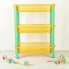 Этажерка для игрушек на колёсах 3-х секционная «Конфетти», цвет жёлтый - Фото 2