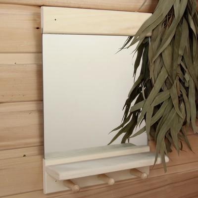 """Зеркало """"Классика"""" с полочкой и вешалками, 36 х 25см - Фото 1"""
