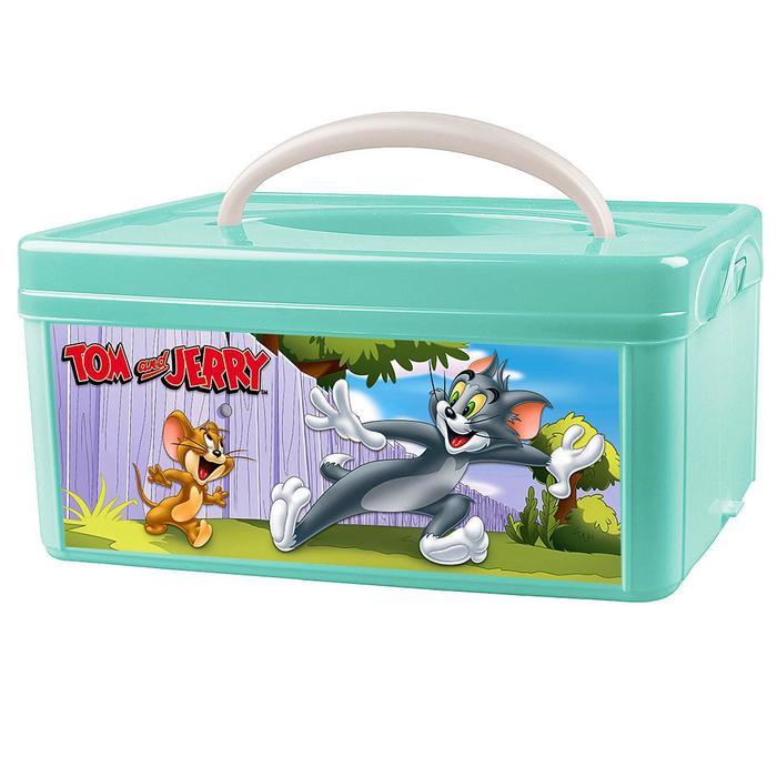 Коробка универсальная с ручкой и аппликацией Том и Джерри, цвет зелёный