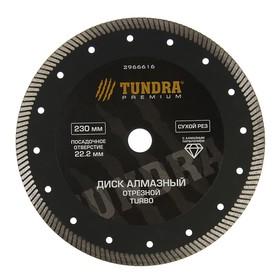 Диск алмазный отрезной TUNDRA PRO, повышенный ресурс, TURBO, сухой рез, 230 х 22 мм