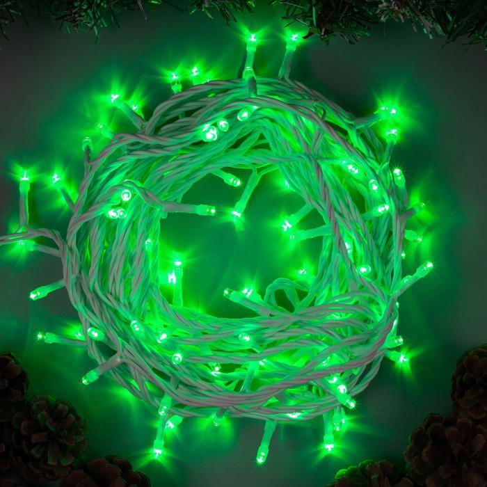 Гирлянда Нить 10 м , IP44, белая нить, 100 LED, свечение зелёное, 8 режимов, 220 В