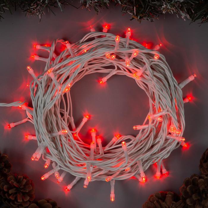 Гирлянда Нить 10 м , IP44, белая нить, 100 LED, свечение красное, 8 режимов, 220 В