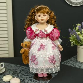 Кукла коллекционная керамика 'Машенька с медвежонком' 40 см Ош