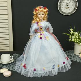 Кукла коллекционная керамика 'Мирослава в нежно-голубом платье' 45 см Ош