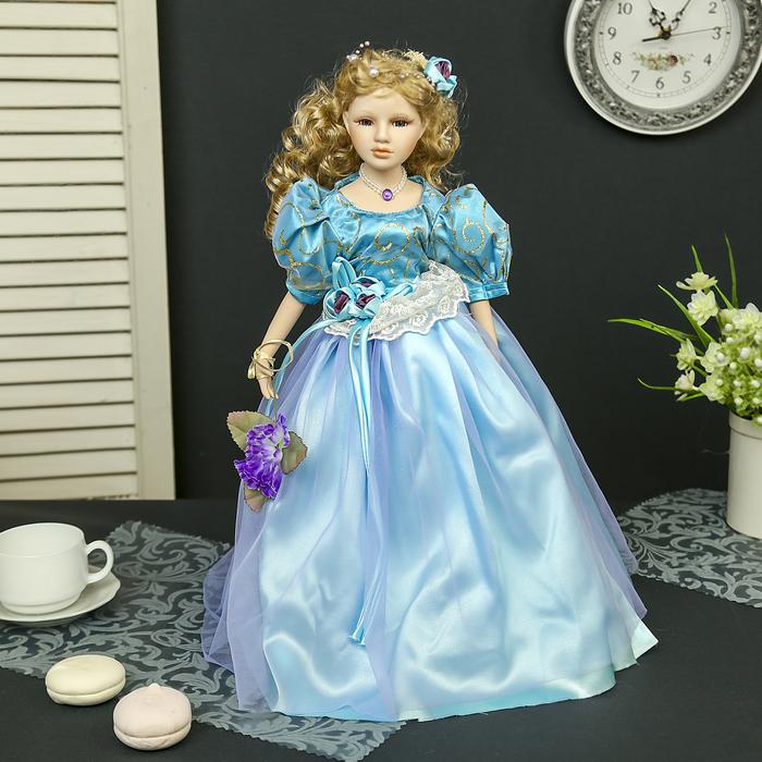 """Кукла коллекционная керамика """"Розали в голубом платье с цветком"""" 45 см"""
