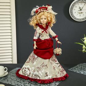 Кукла коллекционная керамика 'Придворная дама Екатерина в платье с бордовой отделкой' 45 см Ош