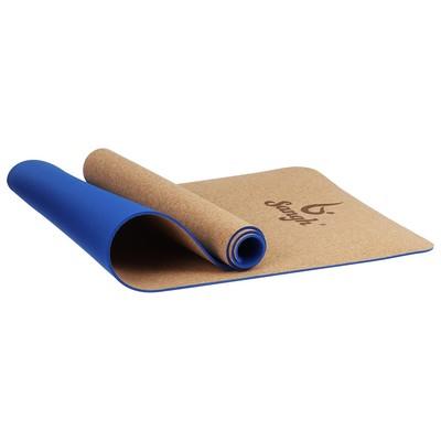 Коврик для йоги 183 × 61 × 0,6 см, цвет синий