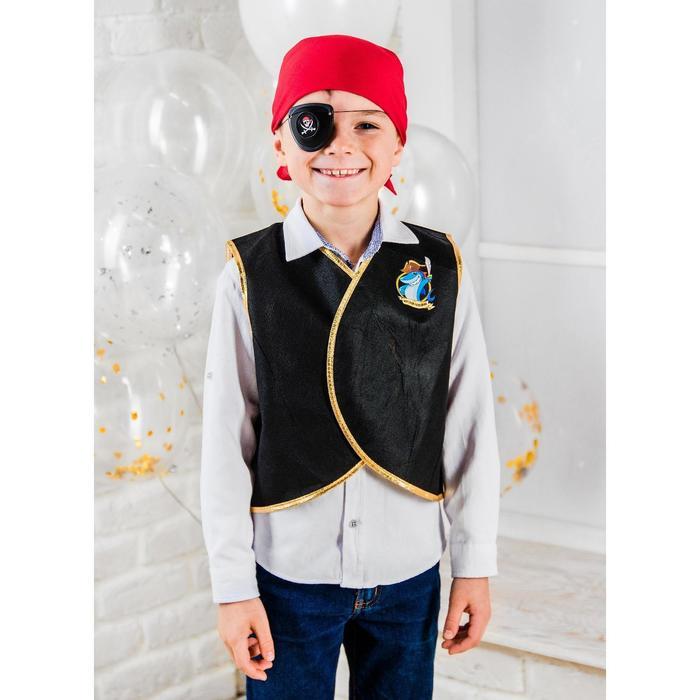Карнавальный костюм Морской разбойник, жилетка, наглазник, термонаклейка, бандана