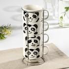Набор кружек «Панда», 180 мл, 4 шт, на металлической подставке, рисунок МИКС - Фото 1