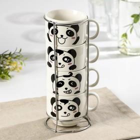 Набор кружек «Панда», 180 мл, 4 шт, на металлической подставке, рисунок МИКС