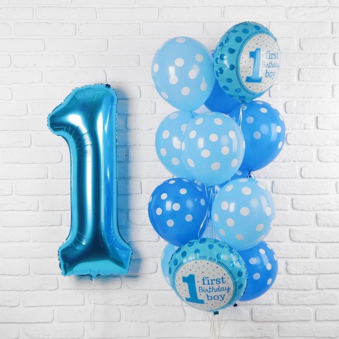 Букет из шаров «Первый день рождения. Малыш», фольга, латекс, набор 13 шт.