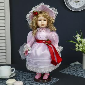Кукла коллекционная керамика 'Ариадна в розовом платье и шляпке' 40 см Ош