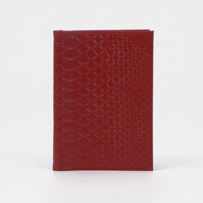 Обложка для автодокументов и паспорта, крокодил, цвет красный