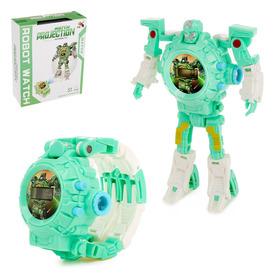 -робот «Часы», трансформируется, с функцией проектора, цвет бирюзовый