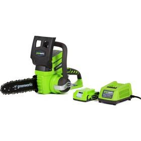 """Аккумуляторная цепная пила GreenWorks G24CS25K2, 24В, 2 Ач, шина 25 см, 40 звеньев, 3/8"""", ЗУ   40191"""