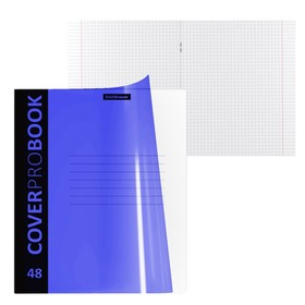 Тетрадь А5+ (170x203 мм), 48 листов клетка Neon, пластиковая обложка с фактурой «песок», голубая