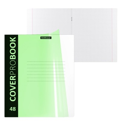 Тетрадь А5+, 48 листов в клетку, на скобке ErichKrause Neon, пластиковая обложка с фактурой «песок», блок офсет, зелёная - Фото 1