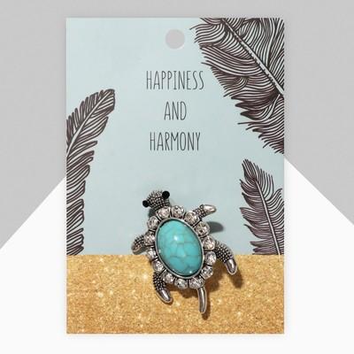 """Брошь """"Черепашка"""" панцирь под бирюзу, цвет голубой в черненом серебре"""