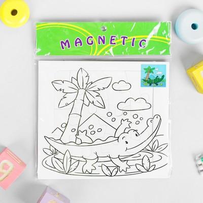 Раскраска-пазл магнитная «Крокодил», 12 деталей, 3 фломастера