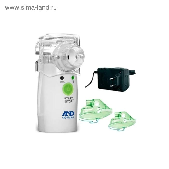 Небулайзер A&D UN-233AC-M, 2 Вт, от батареек 2хАА, шум 32 дБ, распыление 0.2 мл/мин, белый