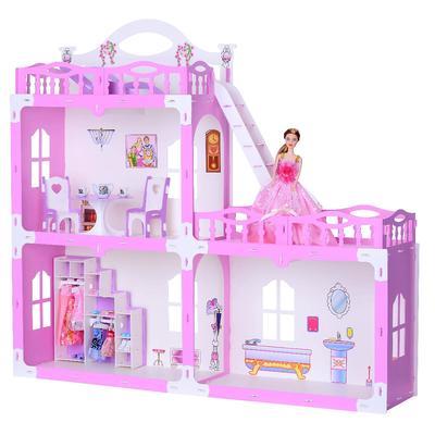 Домик для кукол «Дом Анна» с мебелью, бело-розовый - Фото 1