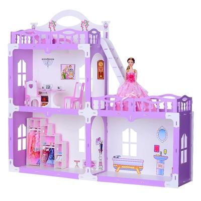 Домик для кукол «Дом Анна» с мебелью, бело-сиреневый - Фото 1
