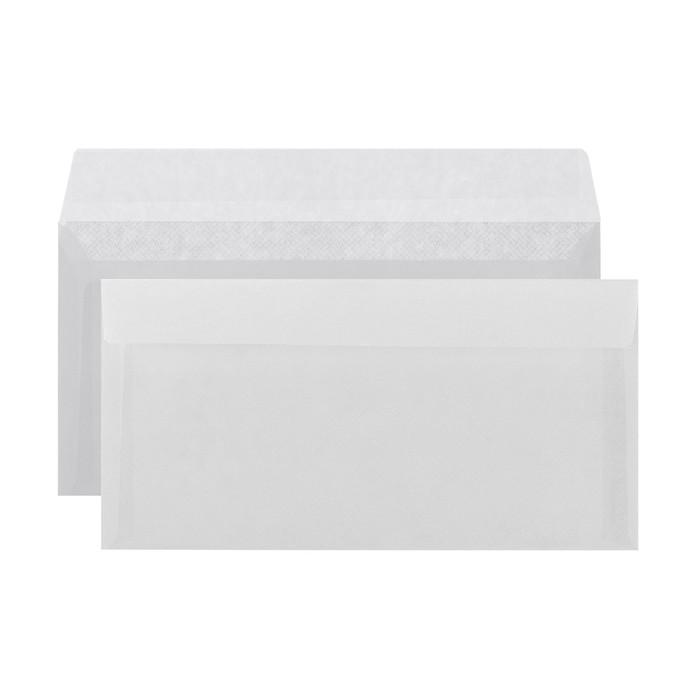 Конверт Е65 110x220 мм, чистый, без окна, силиконовая лента, серая запечатка, 80 г/м², в упаковке 1000 шт.