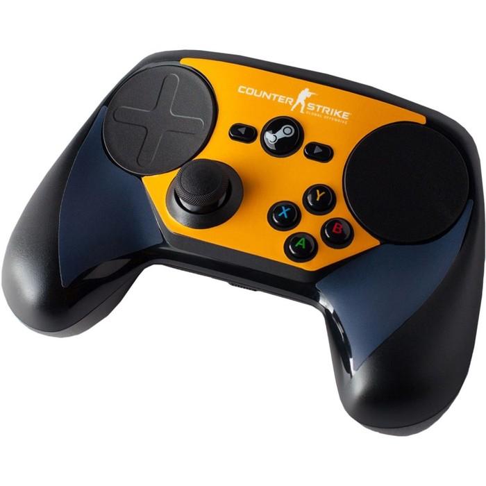 Комплект накладок CSGO для Steam Controller, цвет синий-оранжевый