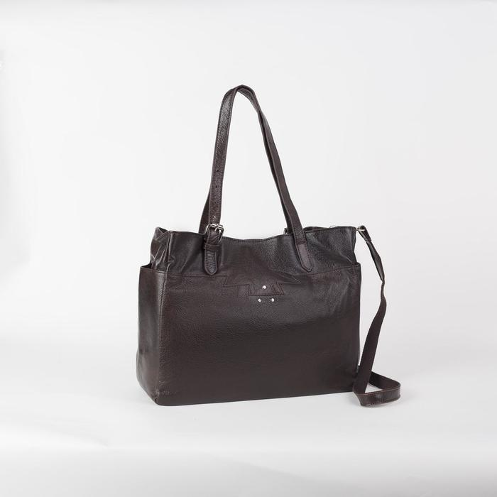 Сумка женская, отдел с перегородкой на молнии, 3 наружных кармана, длинный ремень, цвет коричневый