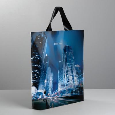 Пакет полиэтиленовый с петлевой ручкой «Ночной город», 40 × 45 см - Фото 1