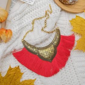 Колье 'Кисти' каскад крупный, цвет ярко-красный в чернёном золоте, 45 см Ош