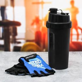 Набор для тренировок «Star gym»: шейкер 600 мл, перчатки 10 × 15 см