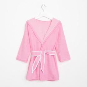 Халат махровый с капюшоном для девочки, рост 98-104 см, цвет розовый 1431-56 Ош