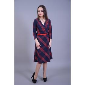 Платье женское, размер 50, цвет сине-красная клетка